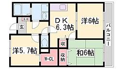 兵庫県神戸市北区有野町二郎の賃貸マンションの間取り