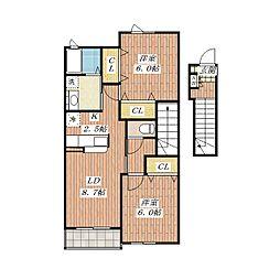 ブルック サイド[2階]の間取り