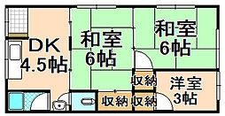 兵庫県伊丹市北園1丁目の賃貸アパートの間取り
