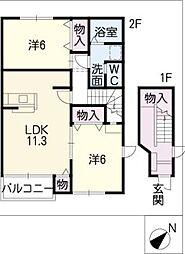 ボーシャルダンA棟[1階]の間取り