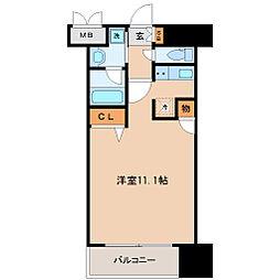 仙台市営南北線 北四番丁駅 徒歩7分の賃貸マンション 6階ワンルームの間取り