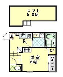 仮称:ハーモニーテラス・大阪市東淀川区大桐三丁目A 2階1Kの間取り