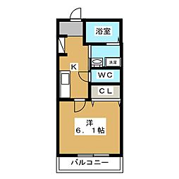 Art Hills Shinyurigaoka 3階1Kの間取り