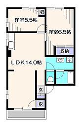 東京都東大和市蔵敷3丁目の賃貸アパートの間取り