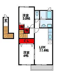プロスペールコナンIIA 2階2LDKの間取り
