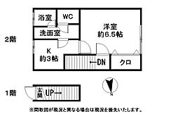 福岡県八女市本町の賃貸アパートの間取り