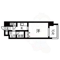 名古屋市営東山線 八田駅 徒歩1分の賃貸マンション 11階1Kの間取り