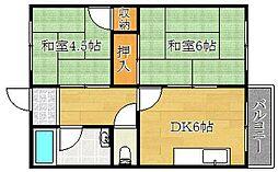 大阪府茨木市水尾1丁目の賃貸マンションの間取り