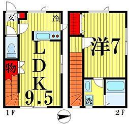 Glanz 2階1LDKの間取り