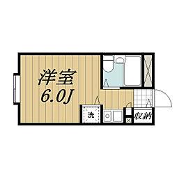 JR成田線 成田駅 徒歩23分の賃貸マンション 2階ワンルームの間取り
