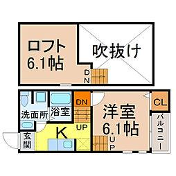 愛知県名古屋市中村区草薙町2の賃貸アパートの間取り