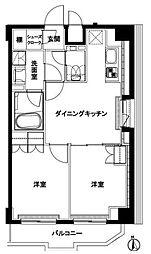ルーブル練馬伍番館 6階2DKの間取り