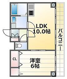 ヴァンルノワール新御堂 10階1LDKの間取り