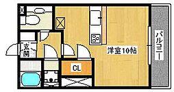 ロイヤルコート上野芝[1階]の間取り