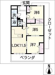 アベニュー神守 402号室[4階]の間取り