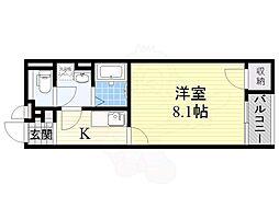 阪急京都本線 上牧駅 徒歩15分の賃貸アパート 1階1Kの間取り