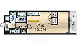 阪急千里線 千里山駅 徒歩9分の賃貸マンション 5階1Kの間取り