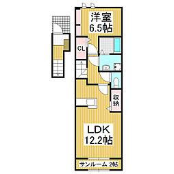 長野県松本市県2丁目の賃貸アパートの間取り