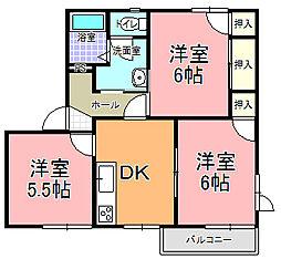 フレグランスNAKA C棟[202号室]の間取り