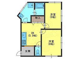 安田マンション 3階2Kの間取り