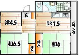 森田第三マンション[205号室]の間取り