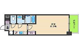 プレデコート北田辺 8階1Kの間取り