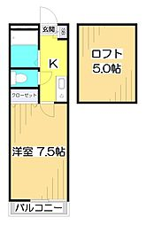 埼玉県富士見市鶴瀬東1丁目の賃貸アパートの間取り