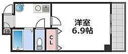プレアデス寺田町 5階1Kの間取り