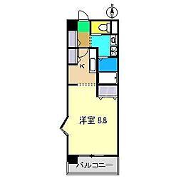 フルール・アミーII 4階1Kの間取り