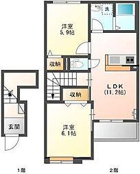 笠幡アパートII期[2階]の間取り