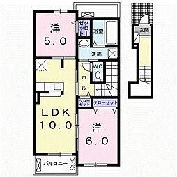 十二町アパート 2階2LDKの間取り
