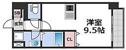 メビウス玉造レジデンスI 6階ワンルームの間取り