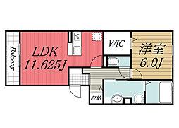 北総鉄道 印西牧の原駅 徒歩17分の賃貸アパート 3階1LDKの間取り