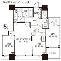 シティタワー武蔵小山  タワー棟 6階3LDKの間取り