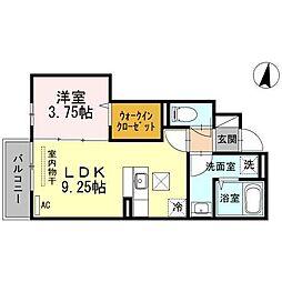 ローシェ宝町 B棟[1階]の間取り
