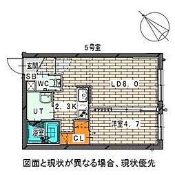 二十四軒1-6MS[3階]の間取り