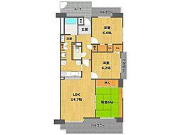 白鷹香枦園マンション[111号室]の間取り