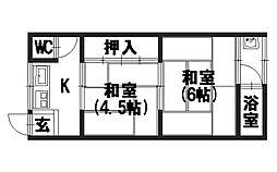 竹王荘[207号室]の間取り