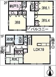 [一戸建] 愛知県東海市加木屋町鎌吉良根 の賃貸【/】の間取り