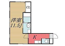 千葉県千葉市中央区本町3丁目の賃貸アパートの間取り