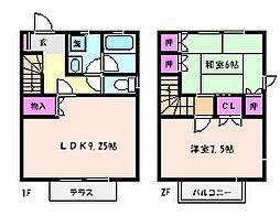 [テラスハウス] 兵庫県神戸市東灘区魚崎中町2丁目 の賃貸【兵庫県 / 神戸市東灘区】の間取り