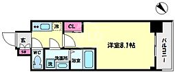 S-RESIDENCE阿波座WEST 7階1Kの間取り