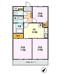 パストラルガーデン 壱番館/弐番館[2階]の間取り