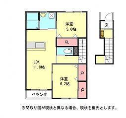 愛知県一宮市萩原町串作字流の賃貸アパートの間取り