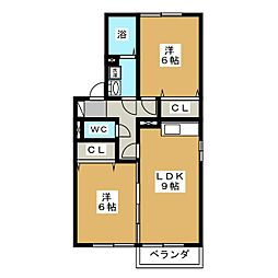 ホクト B棟[2階]の間取り