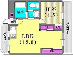 甲南シティハイム兵庫[5階]の間取り