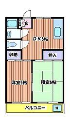 コーポクリハラ[3階]の間取り