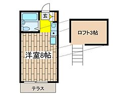 メゾンドゥshino[1階]の間取り
