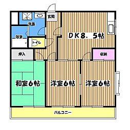 東京都東大和市奈良橋5丁目の賃貸マンションの間取り
