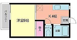 福岡県北九州市小倉南区富士見1丁目の賃貸マンションの間取り